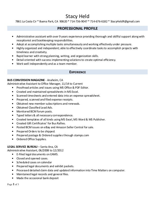 stacy u0026 39 s office manager professional 2016 resume