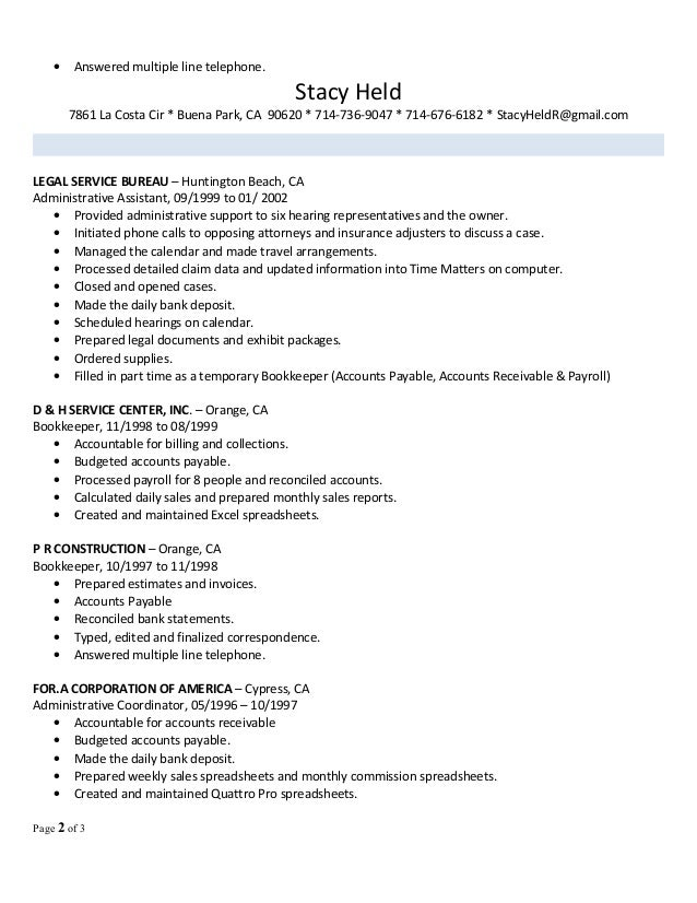 Stacy's Office Manager Professional 2016 resume