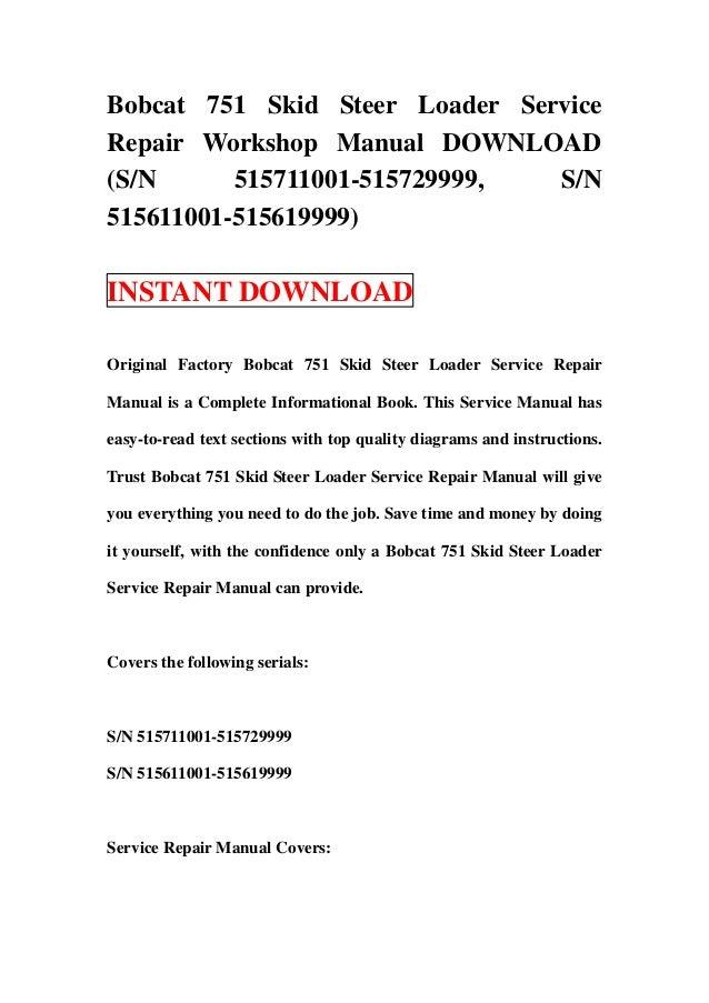 bobcat 642b skid steer loader service repair workshop bobcat 751 service manual pdf free bobcat 751 owners manual pdf