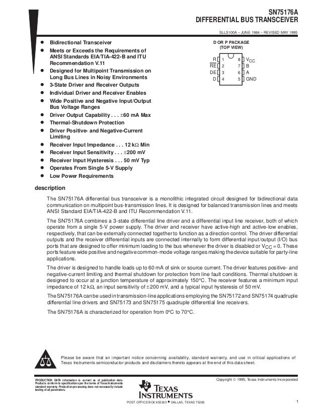 SN75176A DIFFERENTIAL BUS TRANSCEIVER SLLS100A – JUNE 1984 – REVISED MAY 1995 1POST OFFICE BOX 655303 • DALLAS, TEXAS 7526...