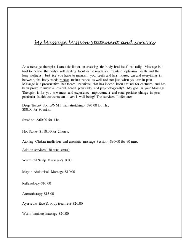 My New Massage Mission Statement And Services 2015