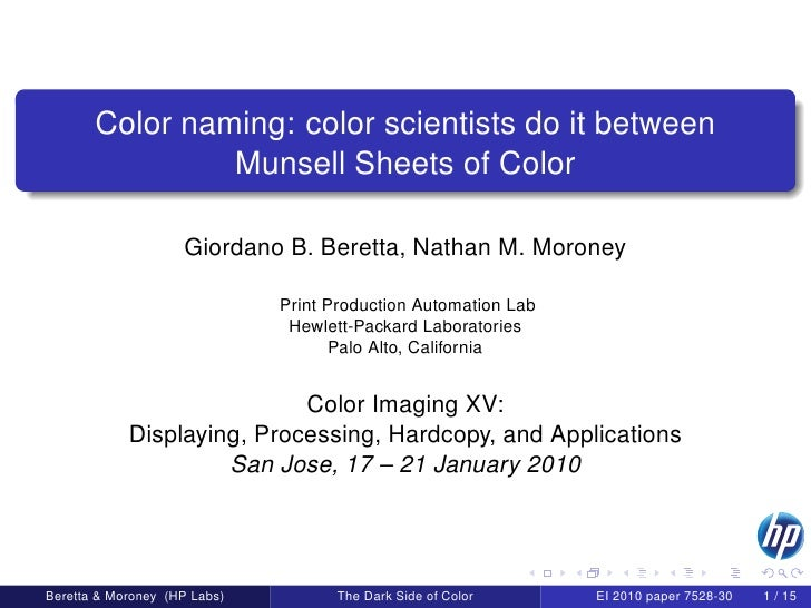 Color naming: color scientists do it between                 Munsell Sheets of Color                      Giordano B. Bere...