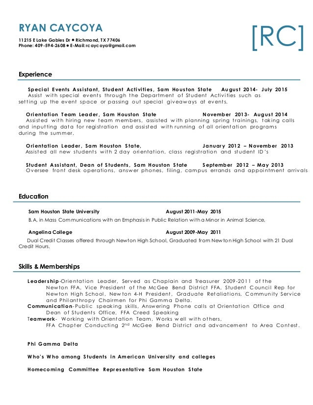 Resume RC   Animal Science Student Resume
