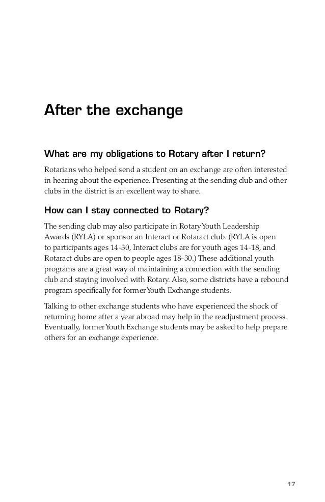 exchange student guide Student guide: foreign liaison, personnel exchange, and cooperative program personnel introduction  in this course, the role, function, responsibilities, and limitations of the.