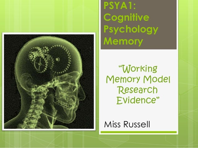 "PSYA1: Cognitive Psychology Memory ""Working Memory Model Research Evidence"" Miss Russell"