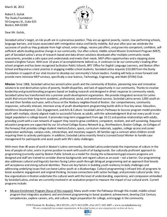 Education Grant Proposal Sample   Sociedad Latina. 1530 Tremont St.  Roxbury, MA 02120 ○ (617) 442 4299 ...