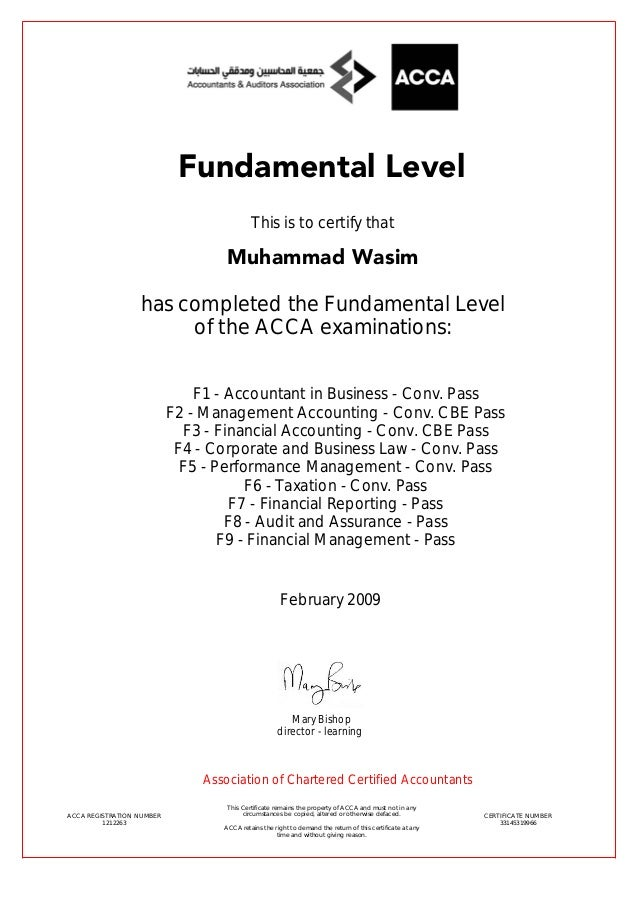 ACCA Fundamental Level Certificate