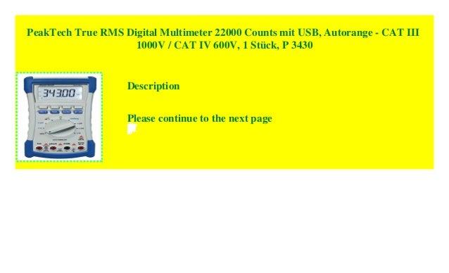PeakTech True RMS Digital Multimeter 22000 Counts mit USB