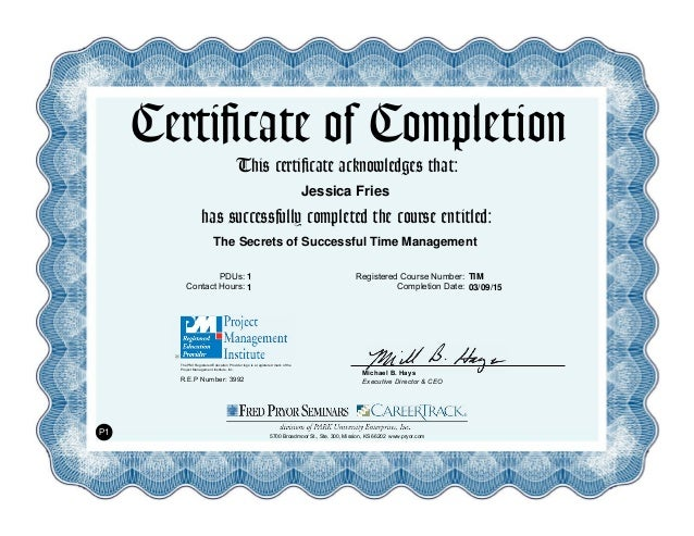 The Secrets of Successful Time Management Certificate