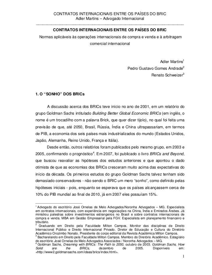 CONTRATOS INTERNACIONAIS ENTRE OS PAÍSES DO BRIC                  Adler Martins – Advogado Internacional__________________...