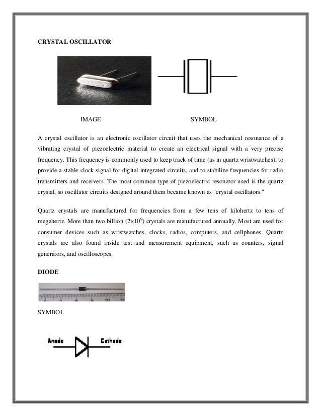 CRYSTAL OSCILLATOR                 IMAGE                                        SYMBOLA crystal oscillator is an electroni...
