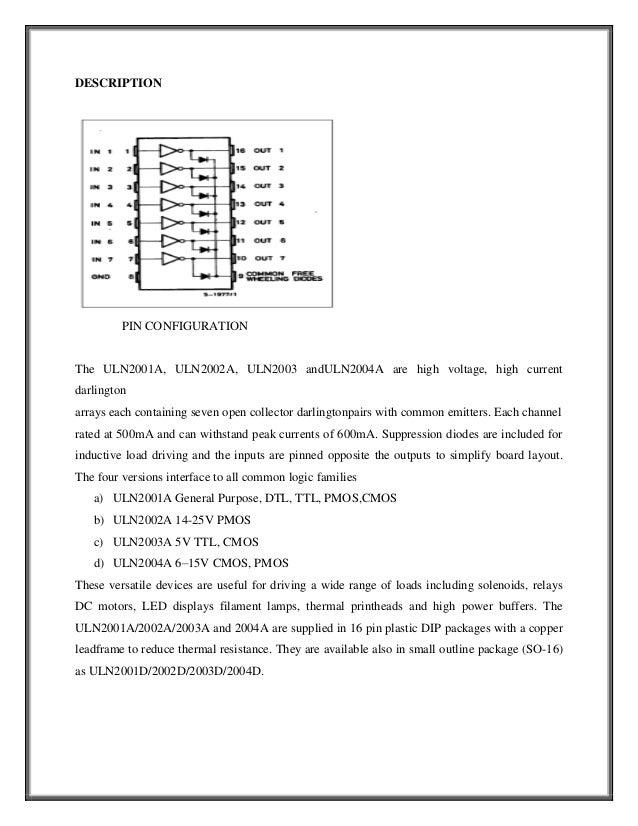 DESCRIPTION         PIN CONFIGURATIONThe ULN2001A, ULN2002A, ULN2003 andULN2004A are high voltage, high currentdarlingtona...