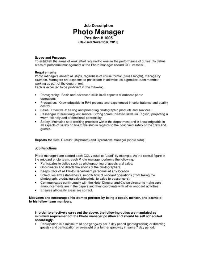 Job Description Photo Manager Position # 1005 (Revised November, 2010)  Scope And Purpose ...