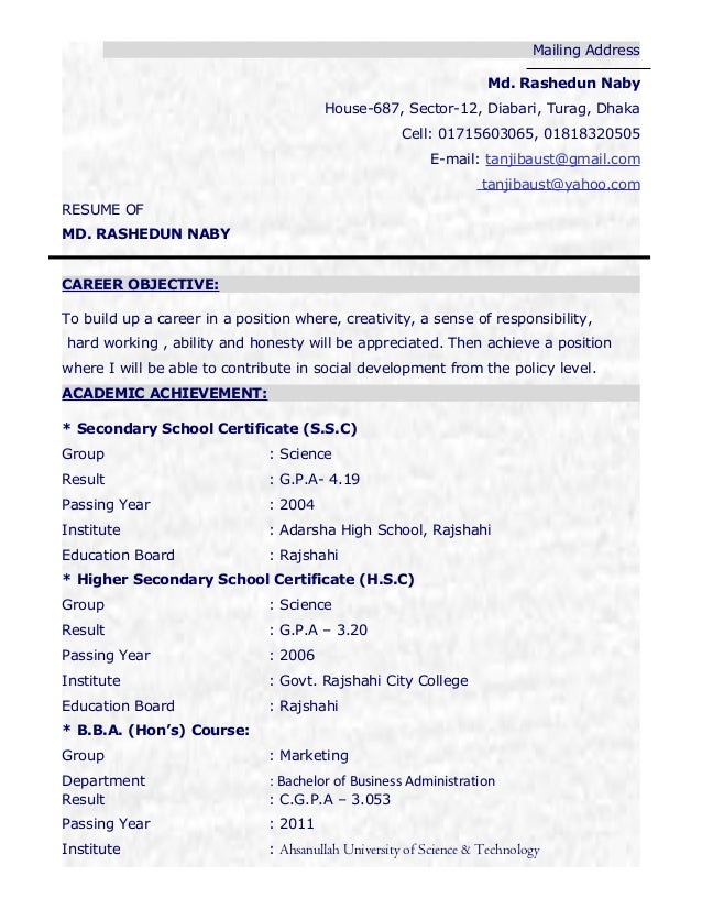 Edit CV Of Tanjib Format. Mailing Address Md. Rashedun Naby House 687,  Sector 12, Diabari, ...