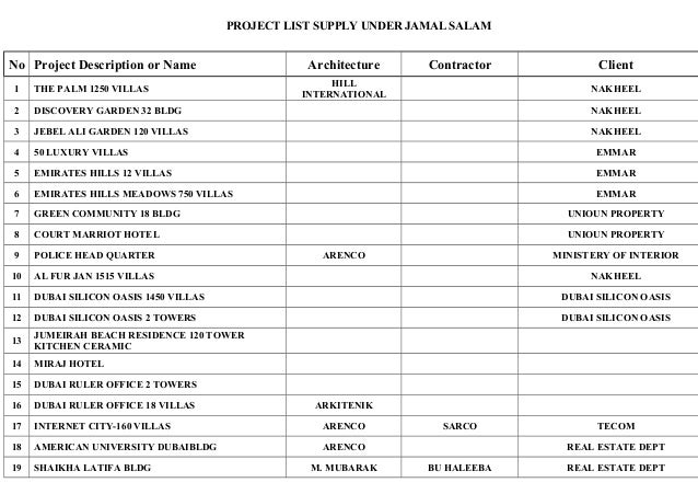Nice PROJECT LIST SUPPLY UNDER JAMAL SALAM No Project Description Or Name  Architecture Contractor Client 1 THE ...