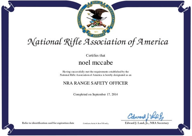 Nra range safety officer completion certificate for Nra certificate template