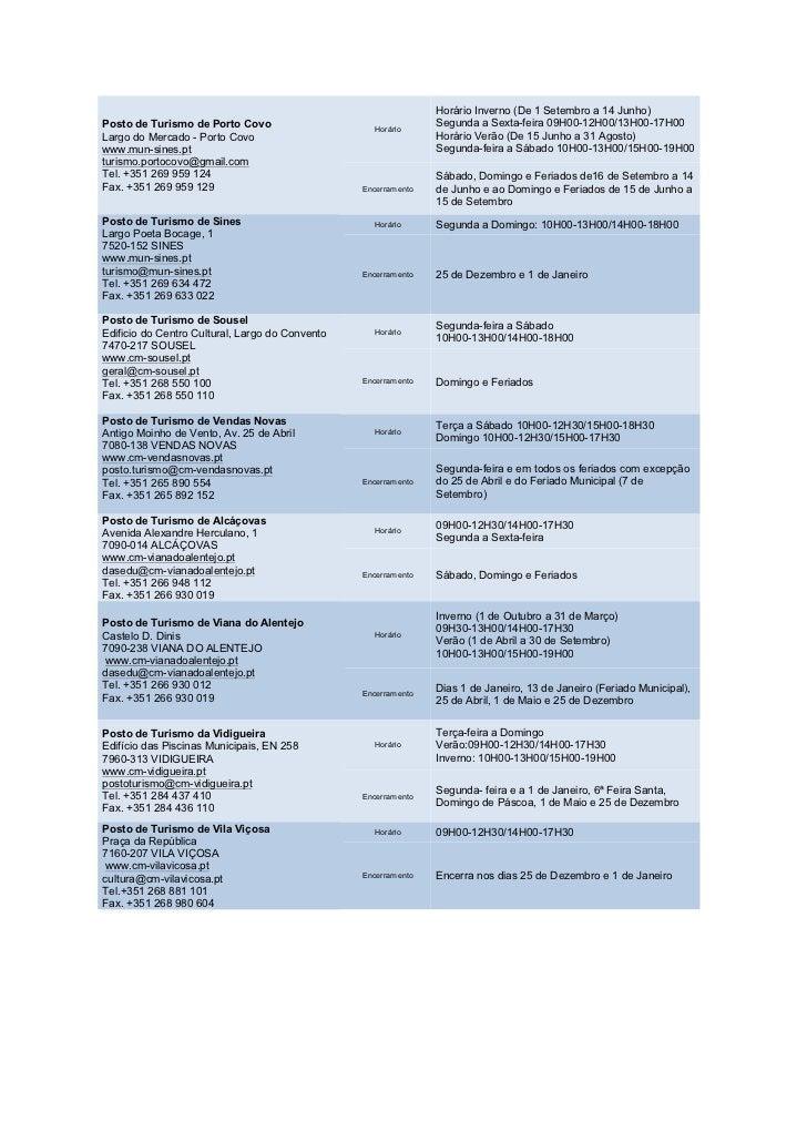 Horário Inverno (De 1 Setembro a 14 Junho)Posto de Turismo de Porto Covo                     Horário                      ...