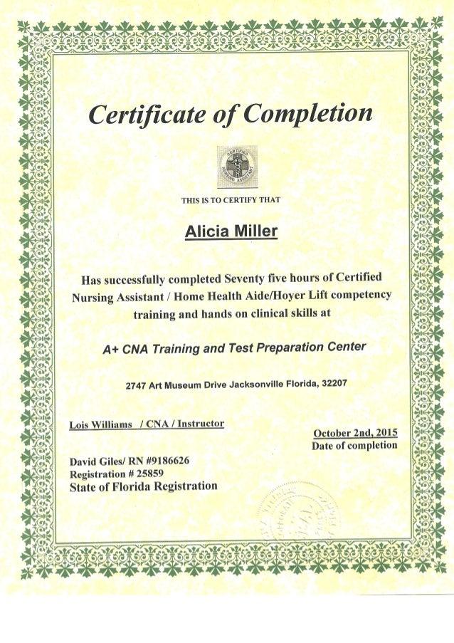 Cna Certificate