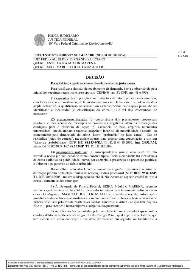 PODER JUDICIÁRIO JUSTIÇA FEDERAL 10ª Vara Federal Criminal do Rio de Janeiro/RJ PROCESSO Nº 0507885-77.2016.4.02.5101 (201...