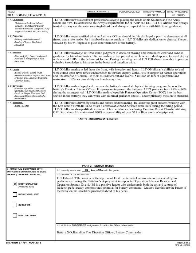 Oer Support Form Example Platoon Leader - Ex