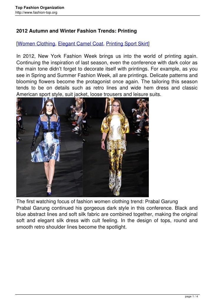 Top Fashion Organizationhttp://www.fashion-top.org2012 Autumn and Winter Fashion Trends: Printing[Women Clothing, Elegant ...