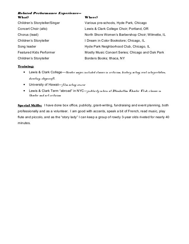 Lm Acting Resume
