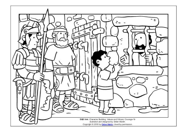 Coloring Page Young People In The Bible Apostle Pauls Nephew SS Link Character Building Values And Virtues Courage 1b Llustrated Designed