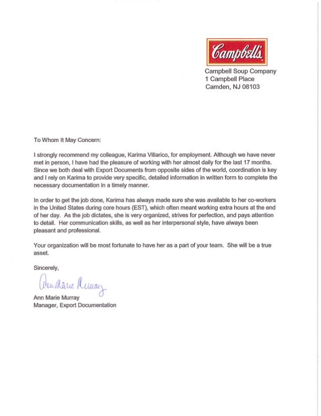 recommendation letter for company