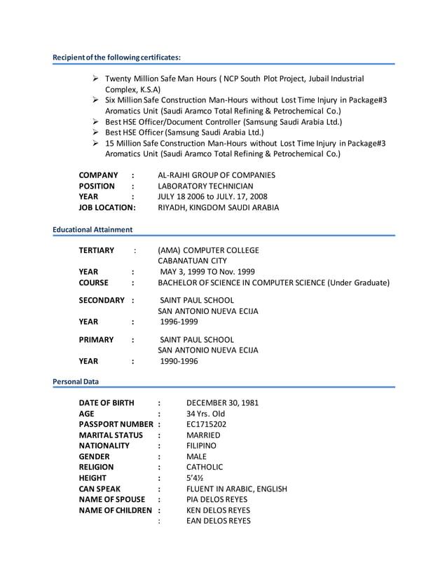 Recipientofthe followingcertificates:  Twenty Million Safe Man Hours ( NCP South Plot Project, Jubail Industrial Complex,...