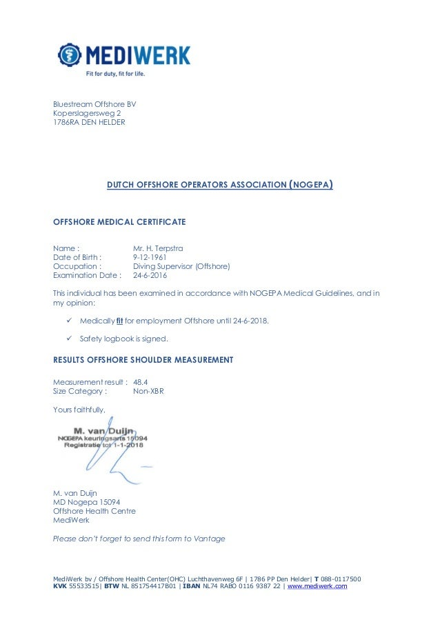 Offshore Medical Certificate And Shoulder MeasurementPdf