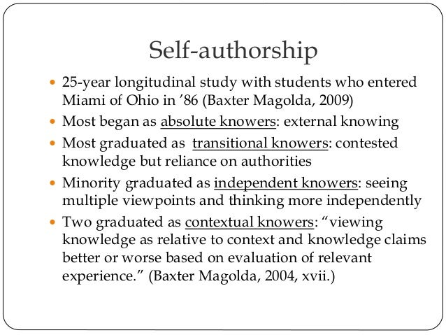 self authorship Understand your past, analyze your present, change your future.