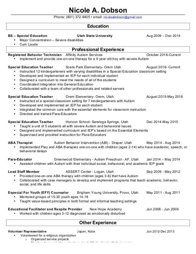 nicole dobson s resume