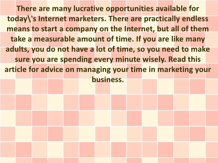 There are many lucrative opportunities available for todays Internet marketers. There are practically endlessmeans to star...