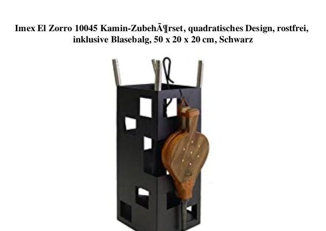 Imex El Zorro 10045 Kamin-Zubehörset, quadratisches Design, rostfrei, inklusive Blasebalg, 50 x 20 x 20 cm, Schwarz