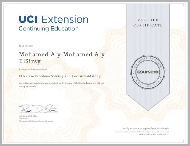 JULY 19, 2015 Mohamed Aly Mohamed Aly ElSirsy Effective Problem-Solving and Decision-Making an online non-credit course au...