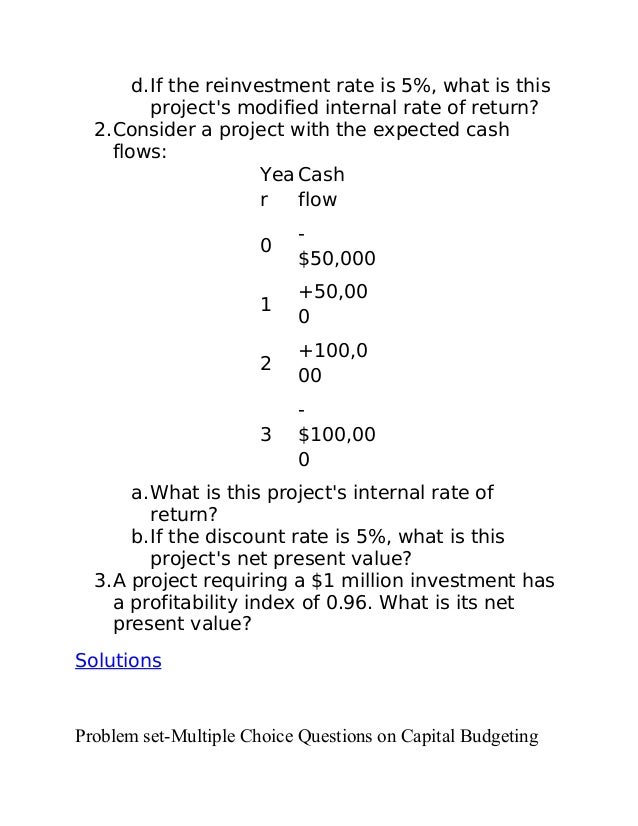 capital budgeting questions Let us write or edit the math problem on your topic capital budgeting: math case study (answering questions) with a personal 20% discount.