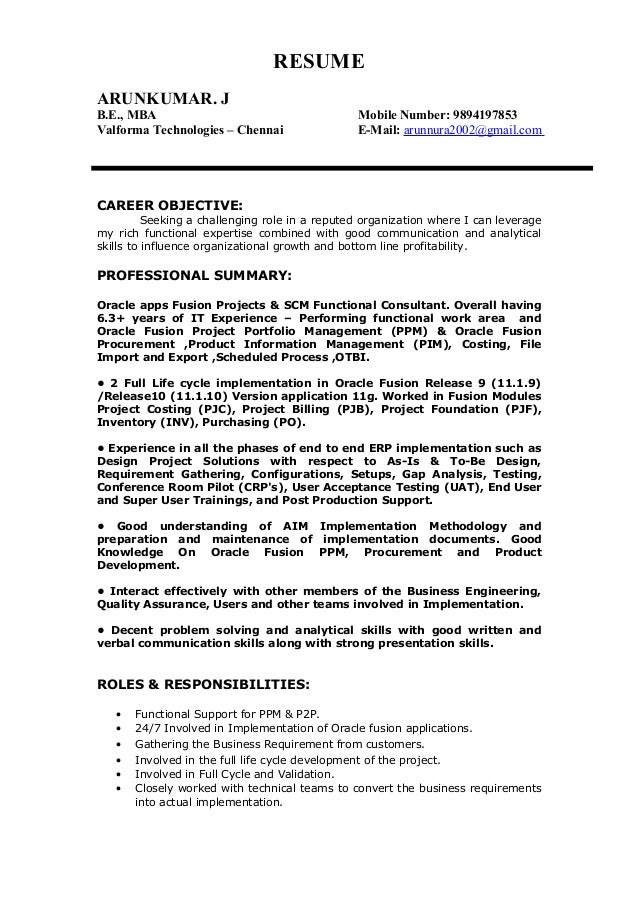 arunkumar resume