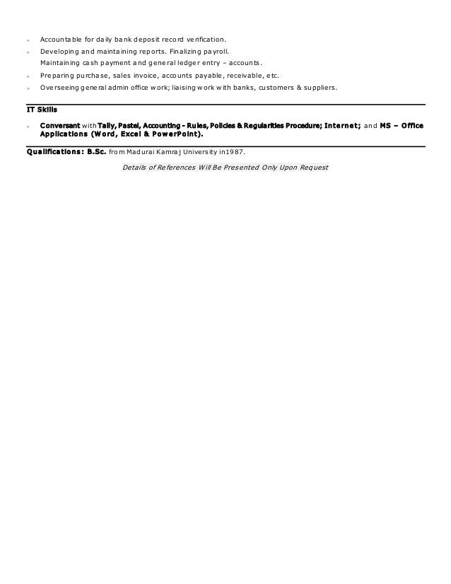 Fancy Pastel Accounting Resume Component - Administrative Officer ...