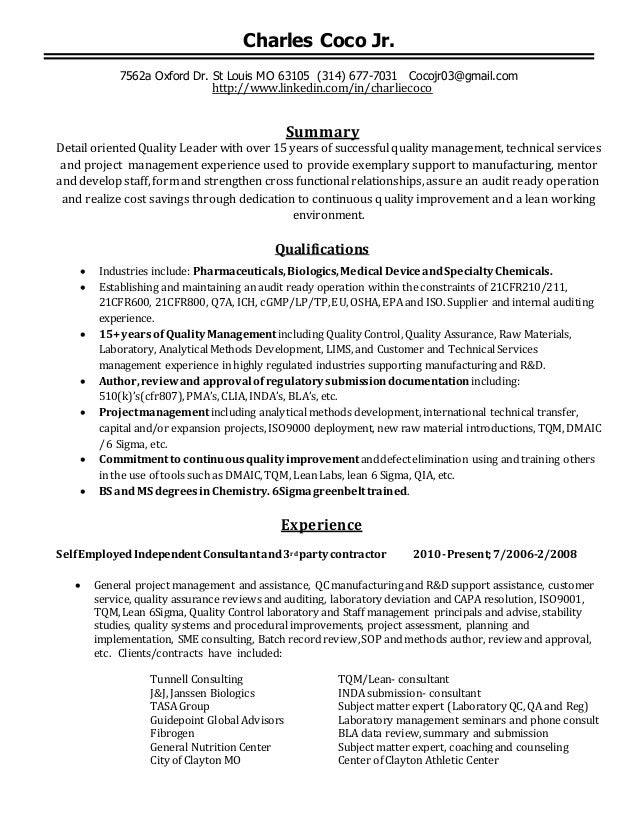 Coco Quality Management Resume Dec102014