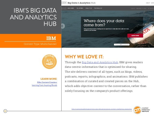 12 IBM'S BIG DATA AND ANALYTICS HUB WHY WE LOVE IT: Through the Big Data and Analytics Hub, IBM gives readers data-centric...