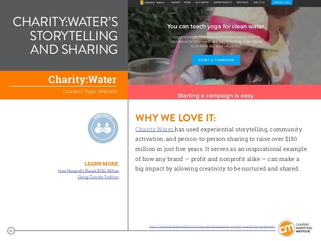 16 CHARITY:WATER'S STORYTELLING AND SHARING WHY WE LOVE IT: Charity:Water has used experiential storytelling, community ac...