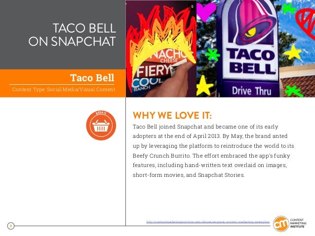 3 TACO BELL ON SNAPCHAT WHY WE LOVE IT: Taco Bell joined Snapchat and became one of its early adopters at the end of April...