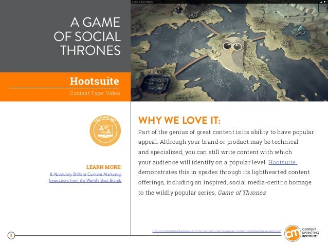 5 A GAME OF SOCIAL THRONES WHY WE LOVE IT: Part of the genius of great content is its ability to have popular appeal. Alth...