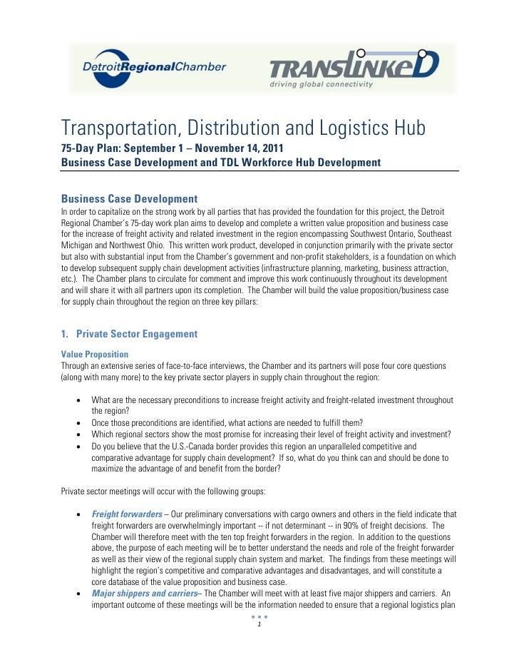 Transportation, Distribution and Logistics Hub75-Day Plan: September 1 – November 14, 2011Business Case Development and TD...