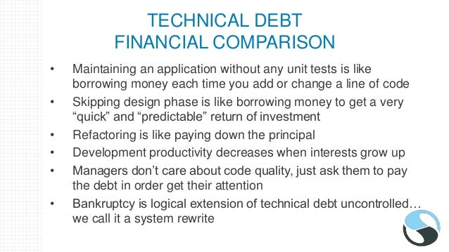 TECHNICAL DEBT FINANCIAL COMPARISON • Maintaining an application without any unit tests is like borrowing money each time ...