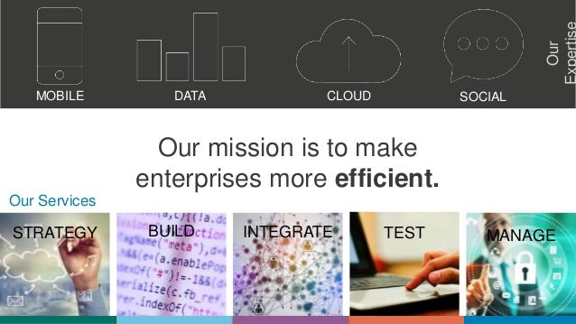 STRATEGY BUILD INTEGRATE TEST MANAGE Our mission is to make enterprises more efficient. Our MOBILE DATA CLOUD SOCIAL Our S...