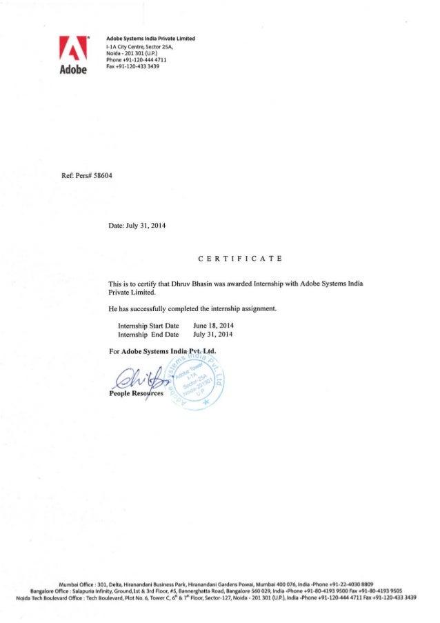 Dhruv internship certificate adobe