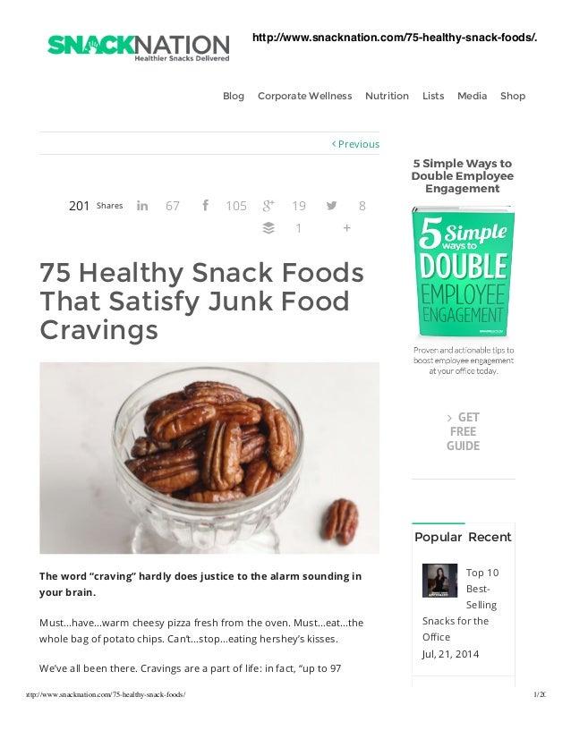Healthy snack foods that satisfy junk food cravings
