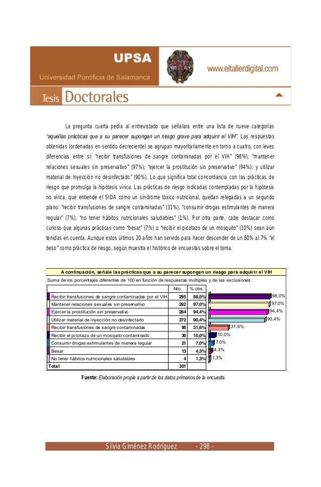 Silvia Giménez Rodríguez - 298 - La pregunta cuarta pedía al entrevistado que señalara entre una lista de nueve categorías...