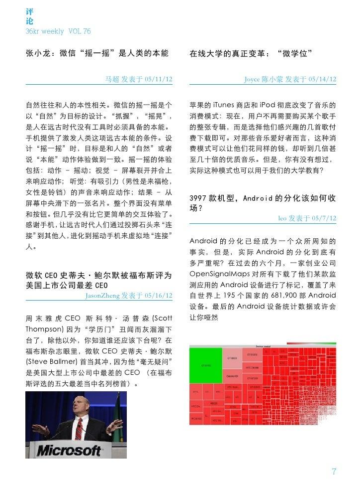 """评论36kr weekly VOL 76张小龙:微信""""摇一摇""""是人类的本能                         在线大学的真正变革:""""微学位""""                     马超 发表于 05/11/12         ..."""